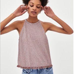 Zara Tweed Halter w/fringe; size small